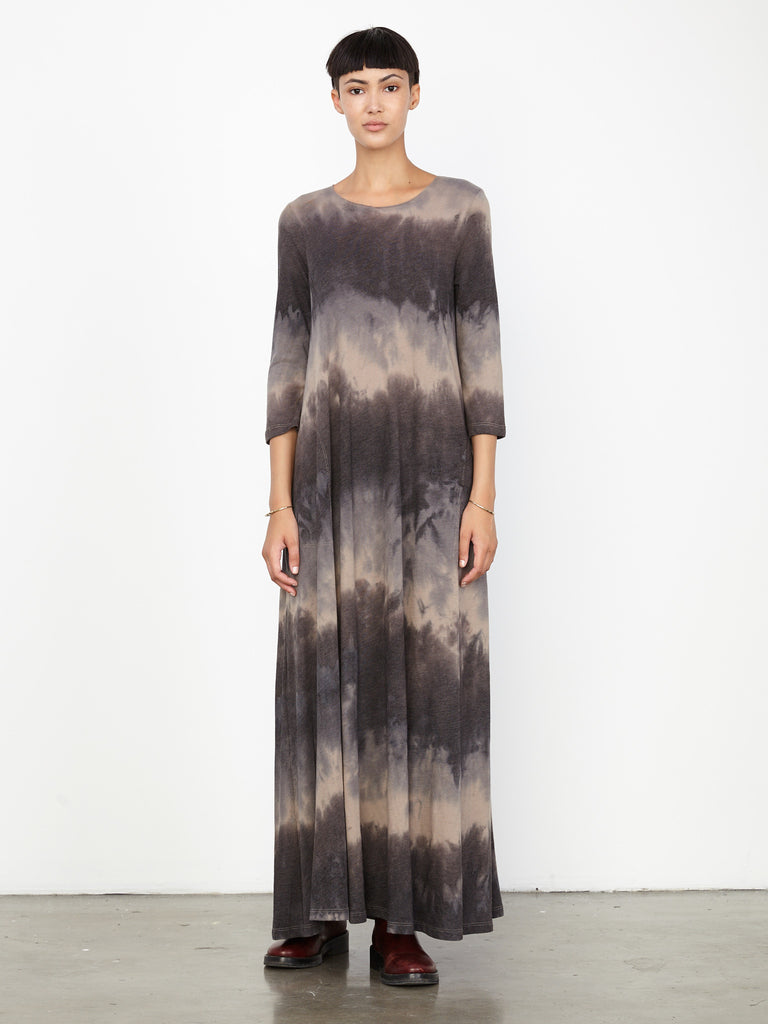 Dusty Clay Tie Dye Jersey 3/4 Sleeve Drama Maxi