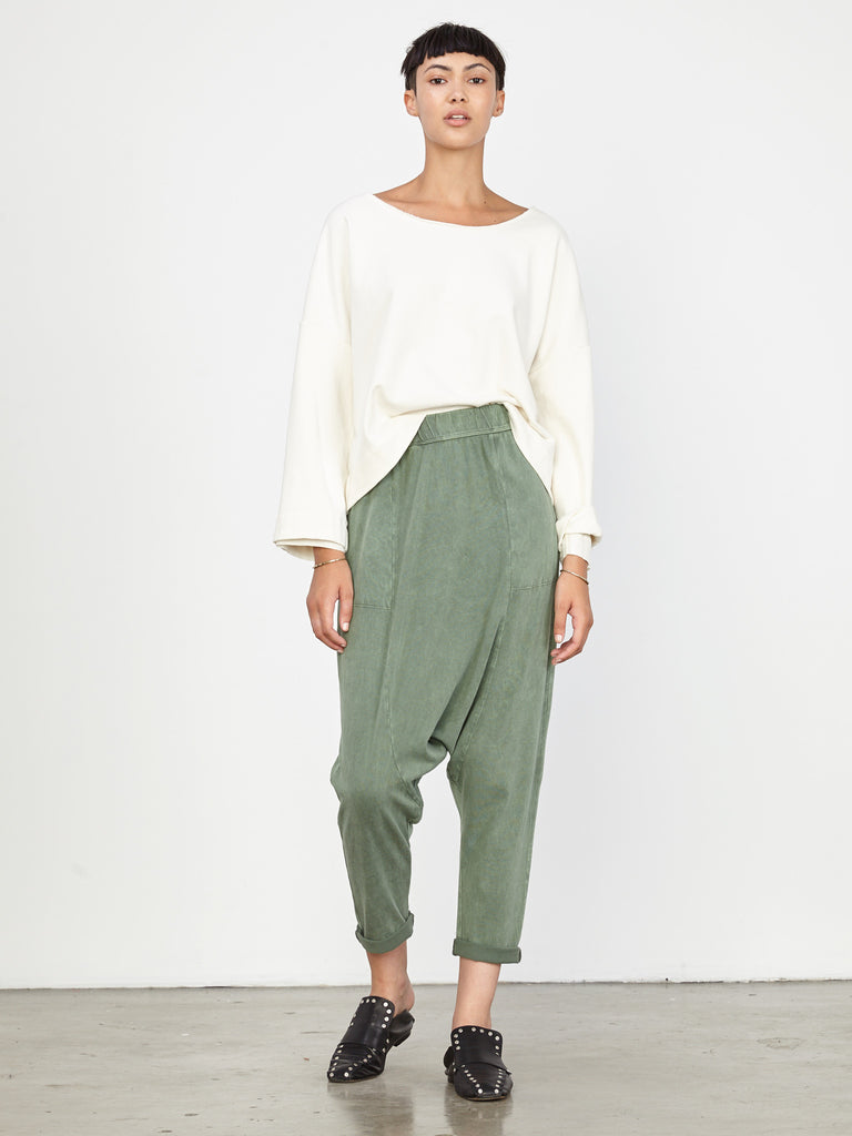 Army Sueded Jersey Cropped Slouchy Pant
