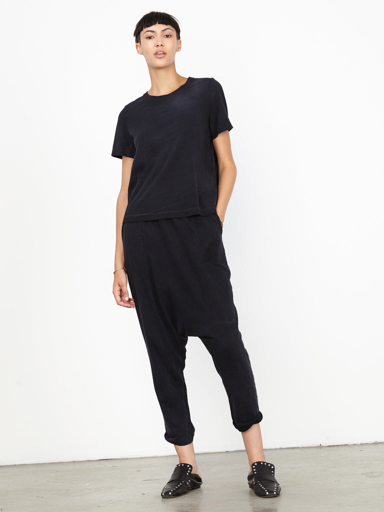 Black Sueded Jersey Cropped Slouchy Pant