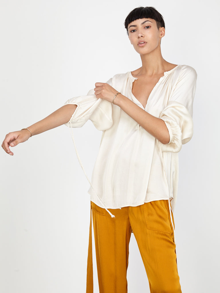Ivory Liquid Satin Dreamer Blouse