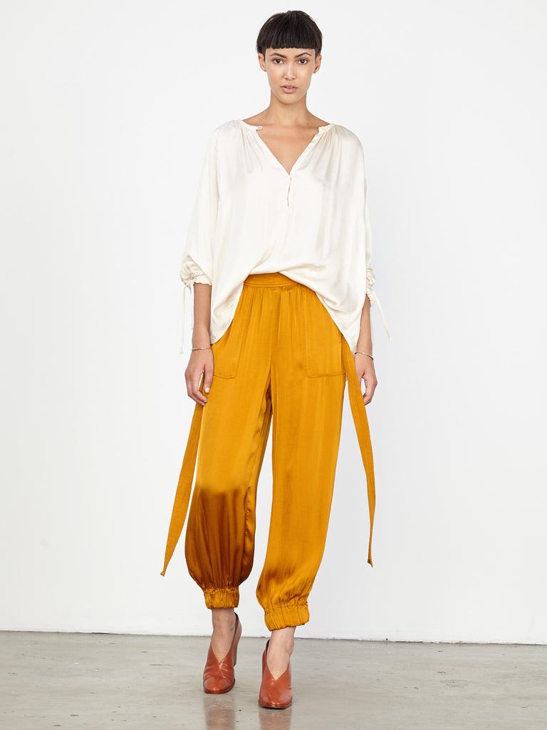 Goldenrod Liquid Satin Deconstructed Tuxedo Pant
