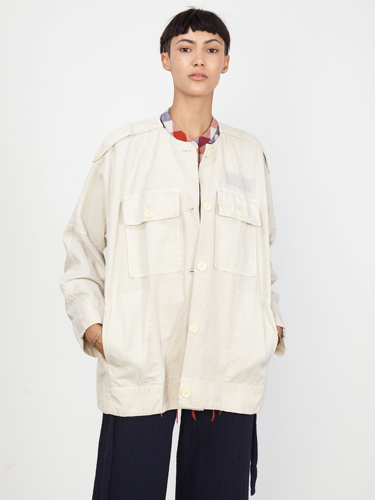 Ivory Vintage Canvas Military Jacket