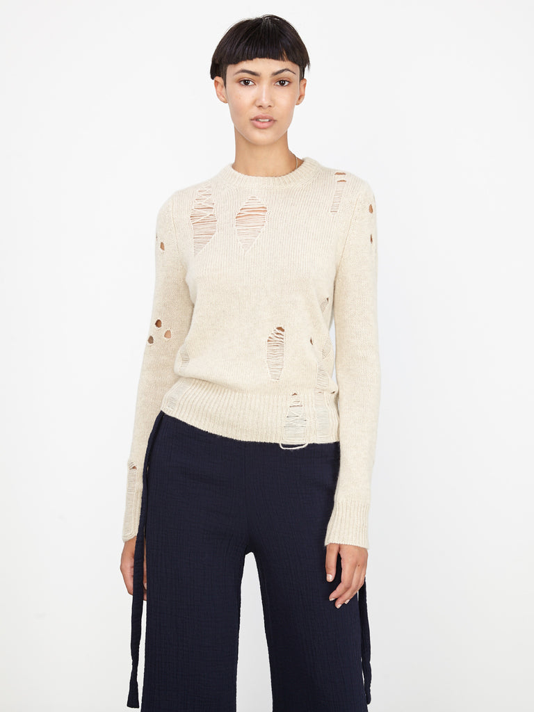Oatmeal Deconstructed Cashmere Fitted Crew
