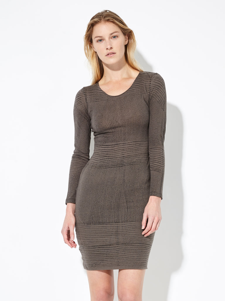 Granite Jersey Long Sleeve Fitted Dress