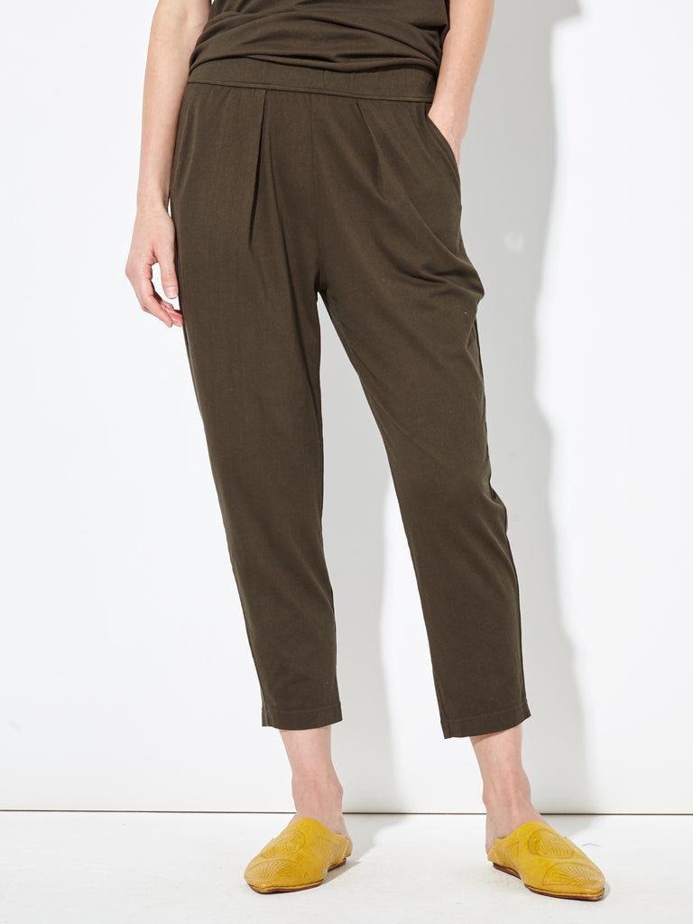 Olive Sueded Baby Jersey Drop Rise Easy Pant