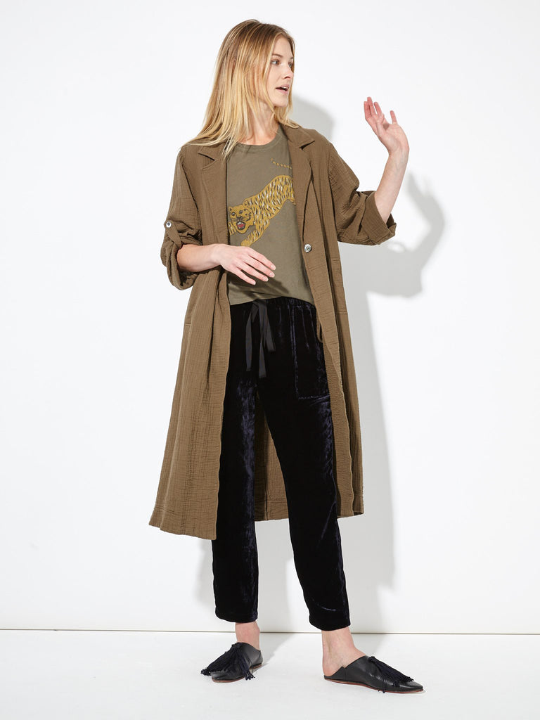 Dark Olive Gauze and Cotton Trench Robe