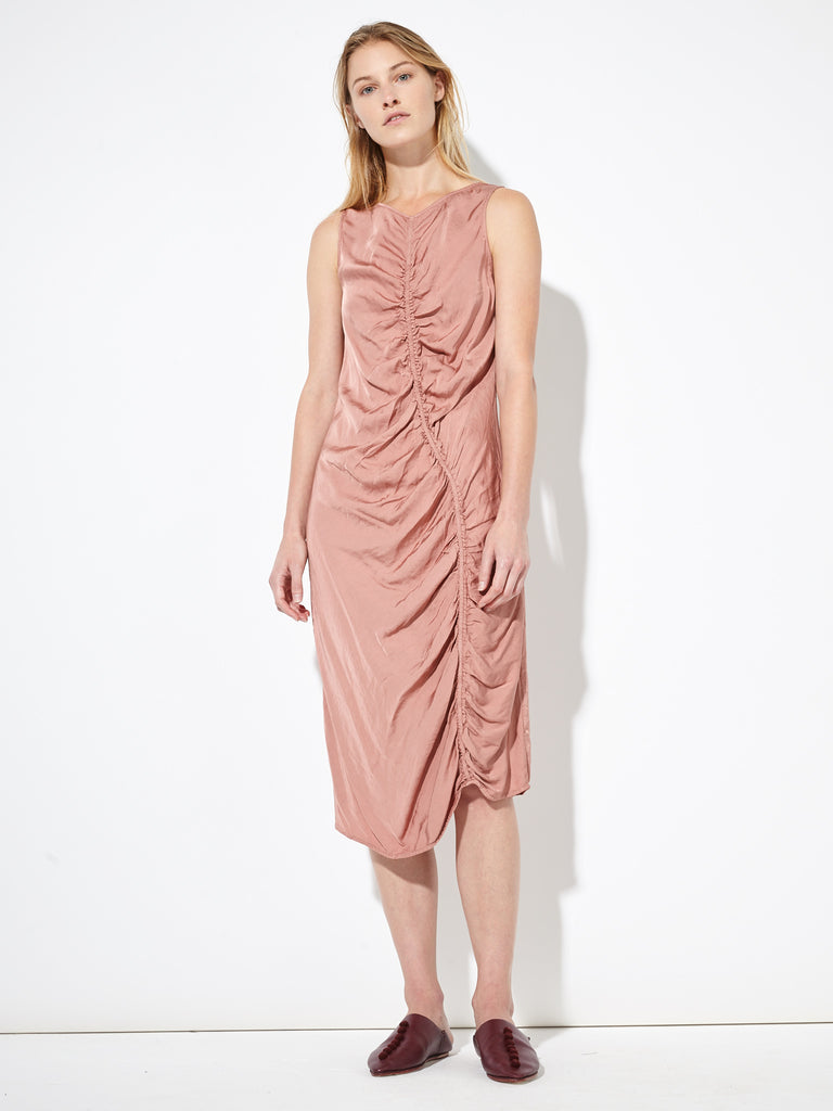 Petal Liquid Satin Gathered Maxi Dress