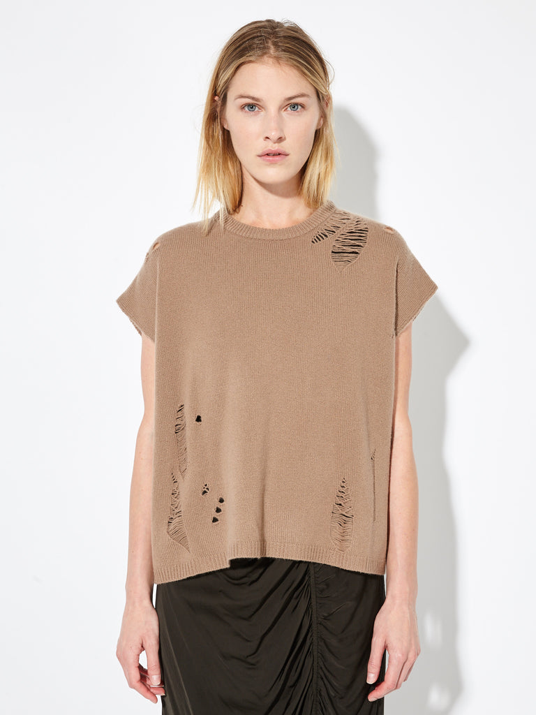 Camel Deconstructed Cashmere Boxy Top
