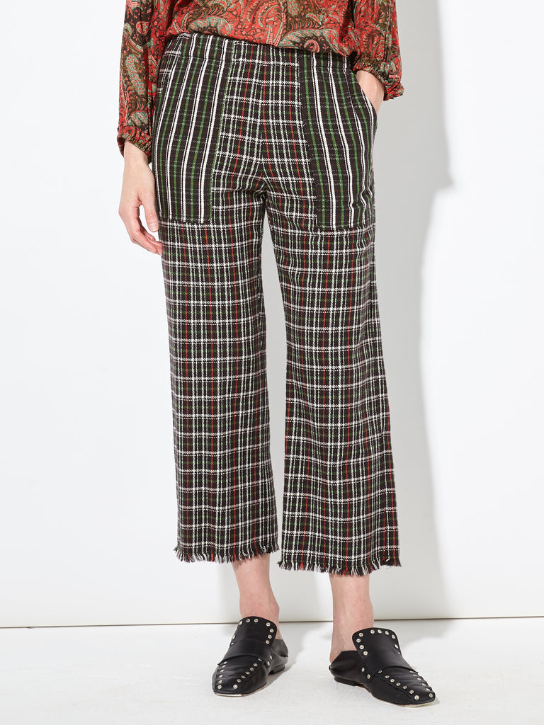 Hunter Red Double Face English Plaid Cropped Pant