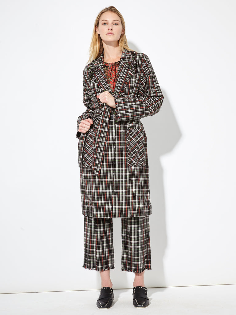 Hunter Red Double Face English Plaid Macintosh Coat