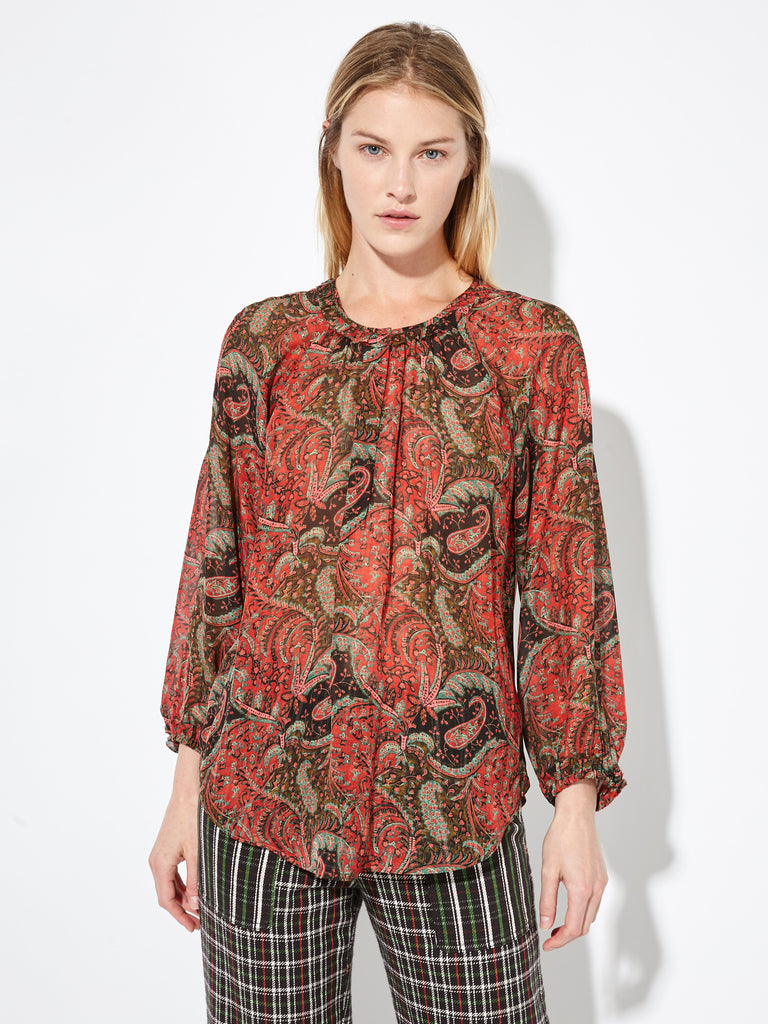 Tapestry Red Vintage Paisley Satin Chiffon Windsor Blouse