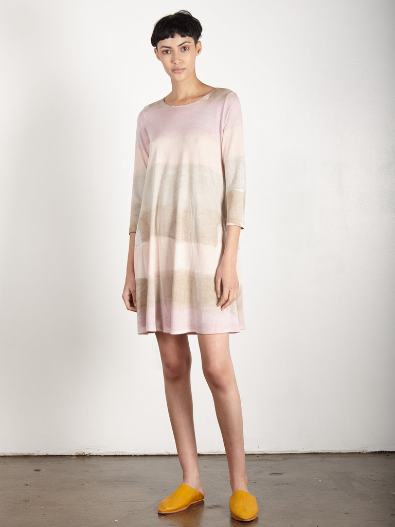 DESERT BLUSH SIGNATURE JERSEY 3/4 SLEEVE BELL DRESS