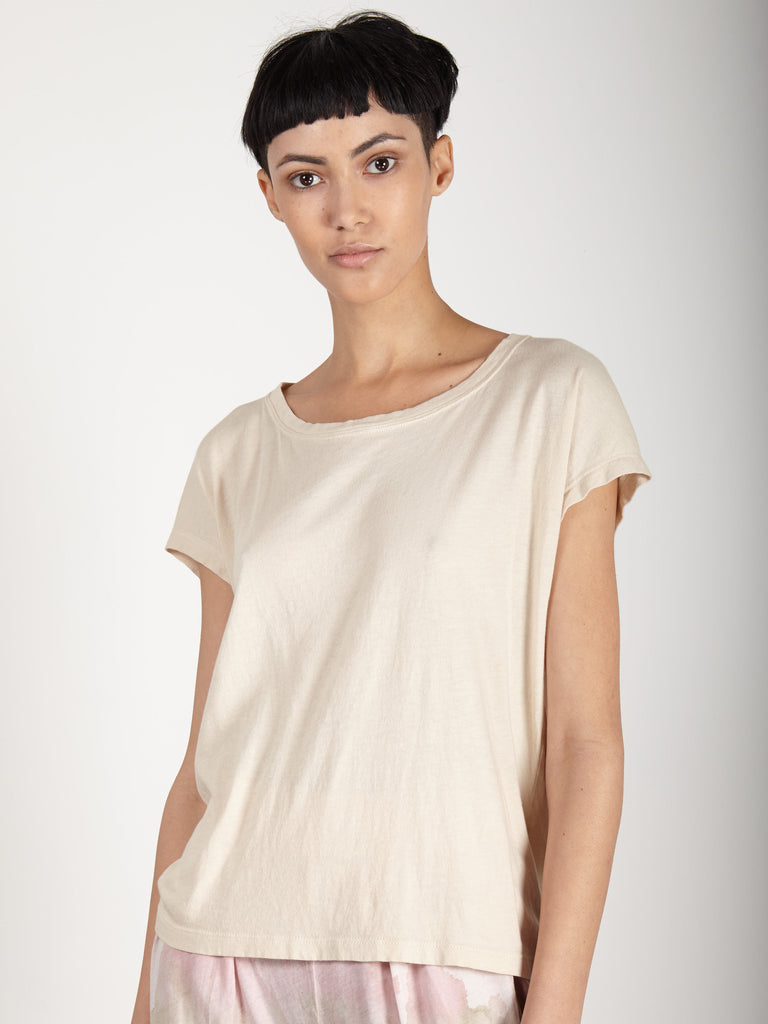 CREME COTTON DOLMAN TEE