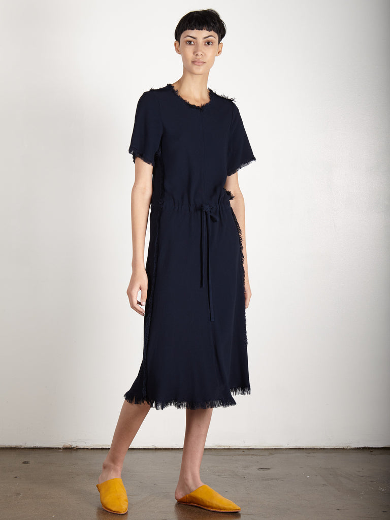 NAVY CREPE BIAS TEE DRESS