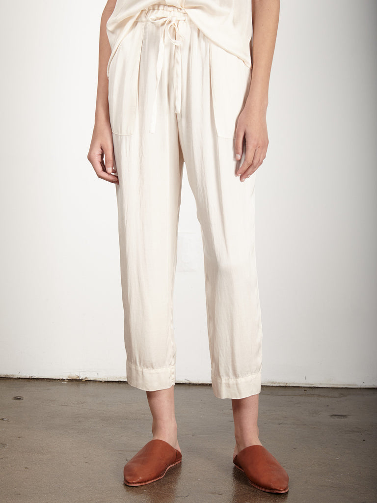 CREME LIQUID SATIN DRAWSTRING PANT