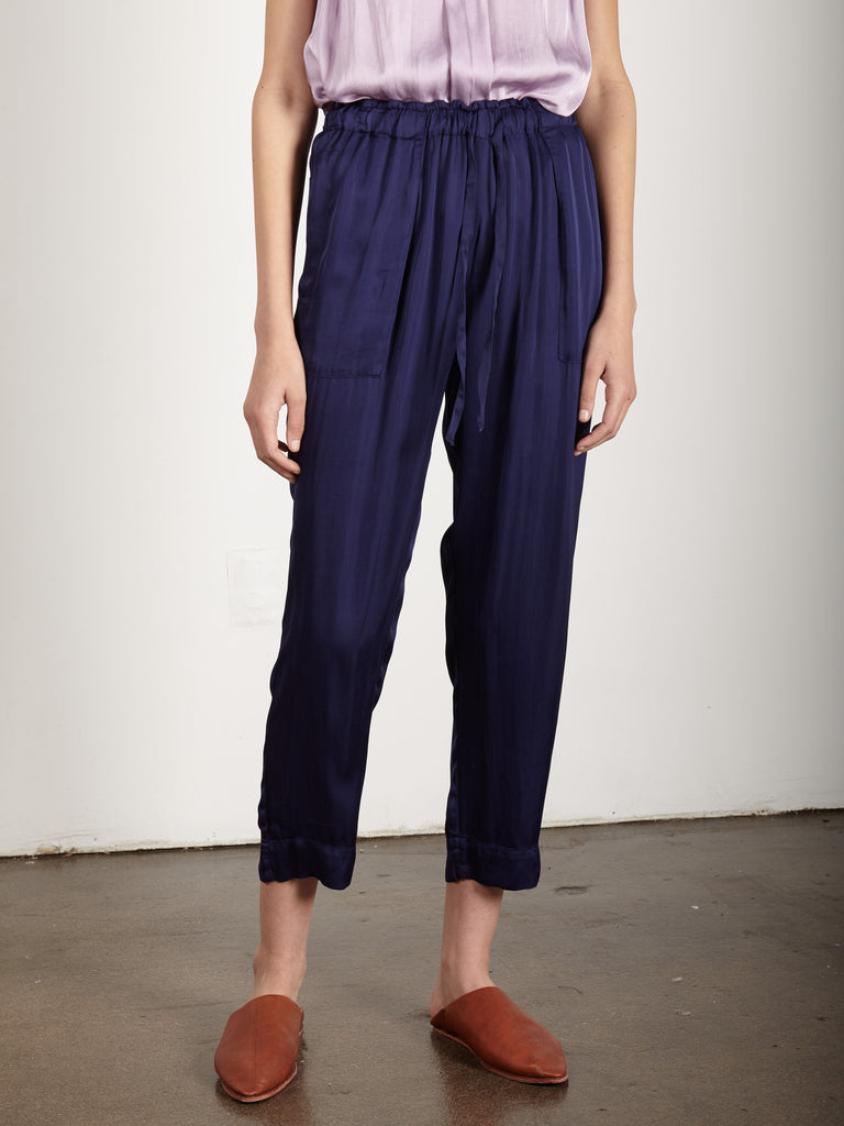 NAVY LIQUID SATIN DRAWSTRING PANT