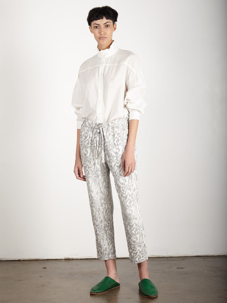 DIRTY WHITE GAUZE PRINTED DRAWSTRING PANT