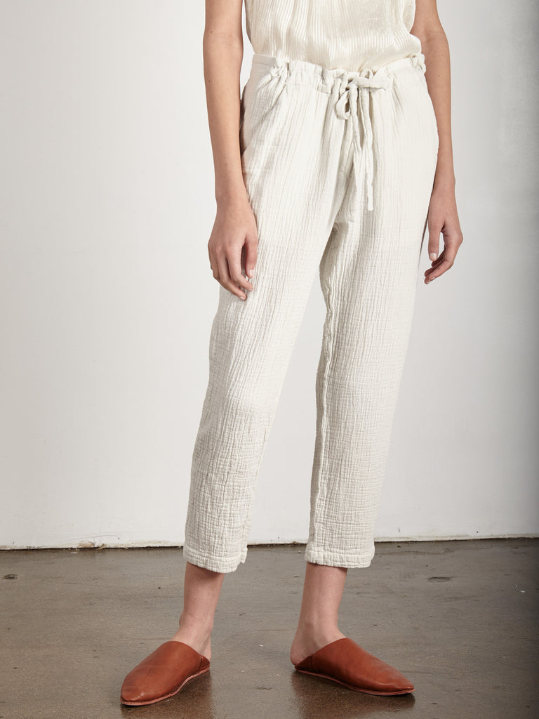 DIRTY WHITE GAUZE DRAWSTRING PANT