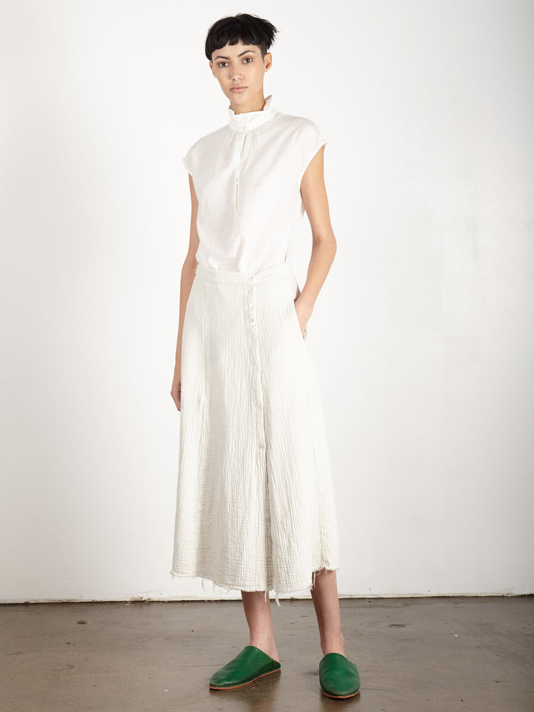 DIRTY WHITE GAUZE SAFARI SKIRT