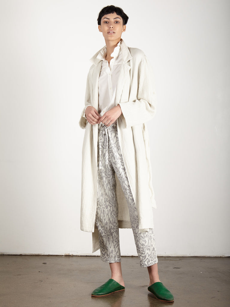 DIRTY WHITE GAUZE TRENCH ROBE