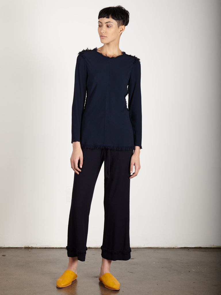 NAVY CREPE LONG SLEEVE BIAS TEE