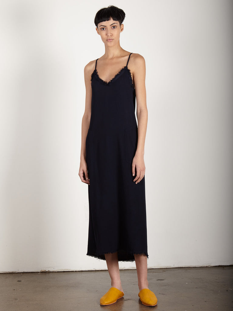 NAVY CREPE V CAMI DRESS