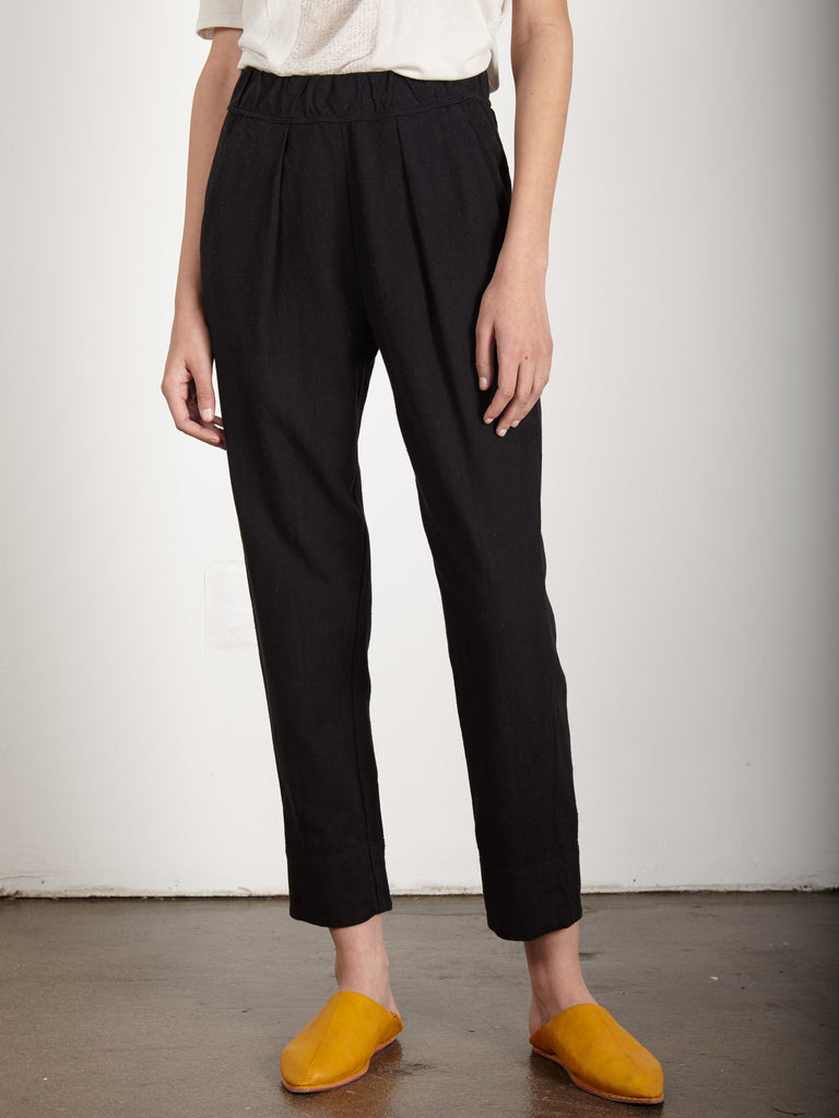 BLACK RAW COTTON EASY PANT