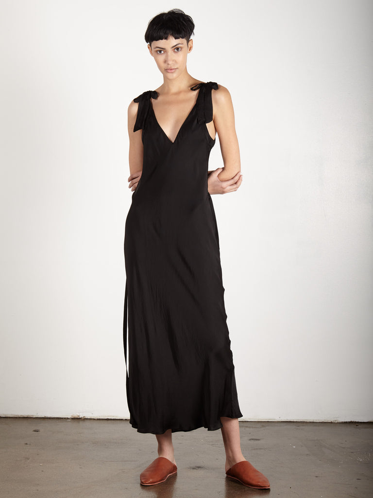 BLACK LIQUID SATIN BIAS BOW MAXI DRESS