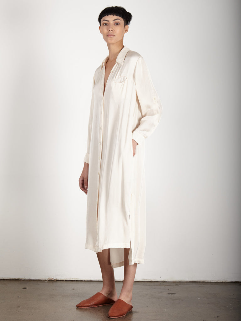 CREME LIQUID SATIN SHIRT DRESS