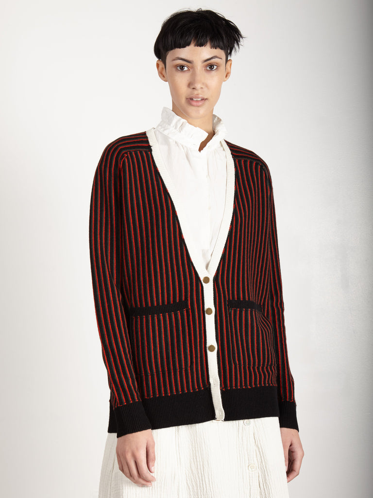 BLACK PUNK STRIPE DEEP V CARDIGAN