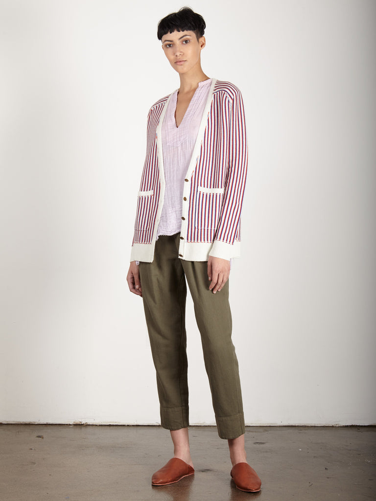 CREME PUNK STRIPE DEEP V CARDIGAN