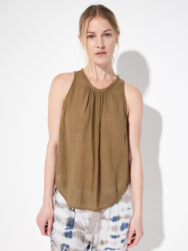 Army Gauze Shirred Sleeveless Top