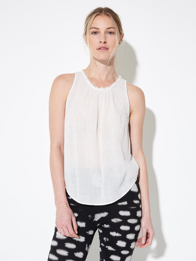 Dirty White Gauze Shirred Sleeveless Top