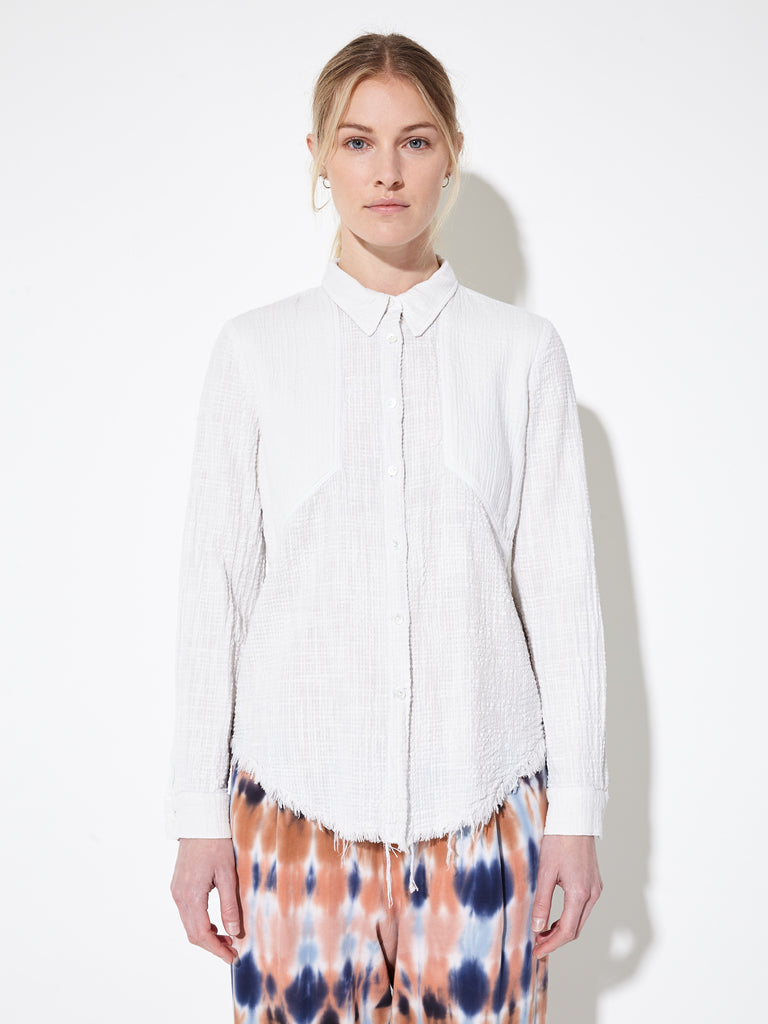 Dirty White Textured Gauze Safari Shirt