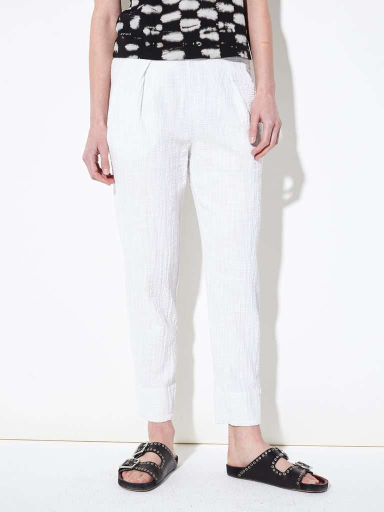 Dirty White Textured Gauze Easy Pant