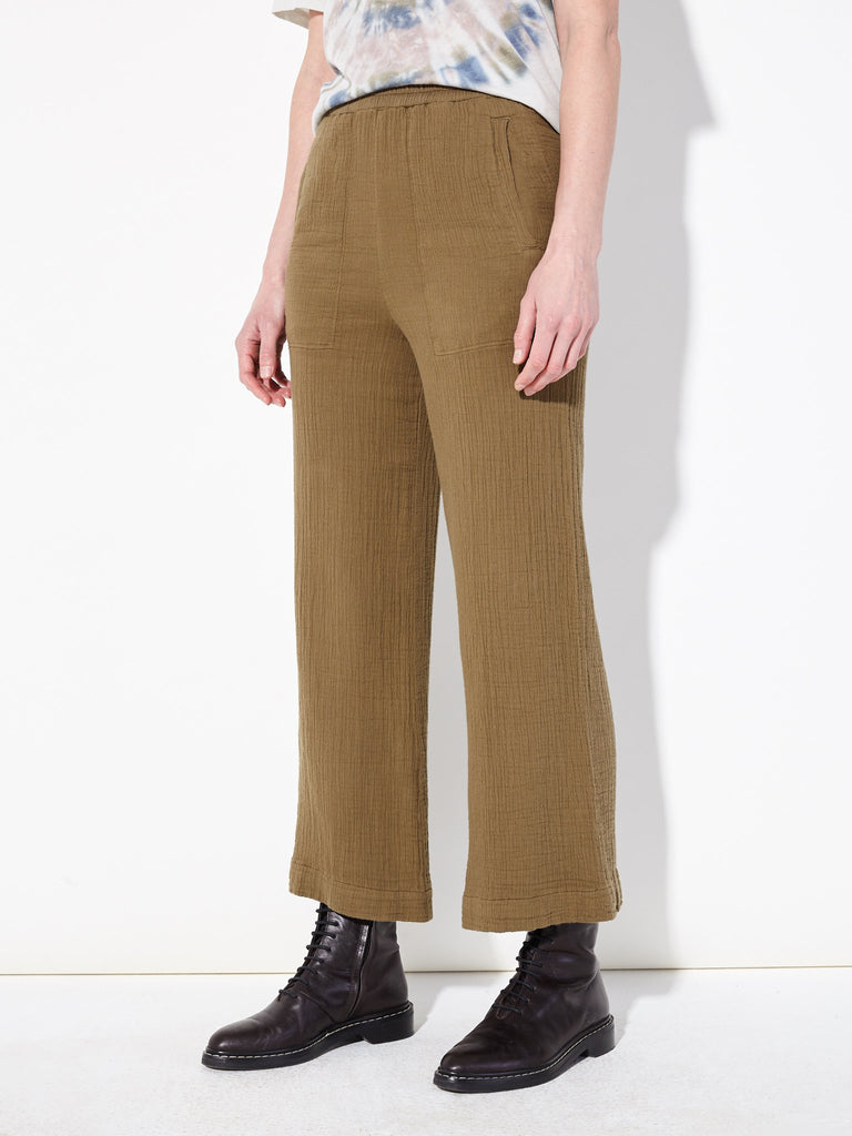 Army Textured Gauze Wide Leg Pant