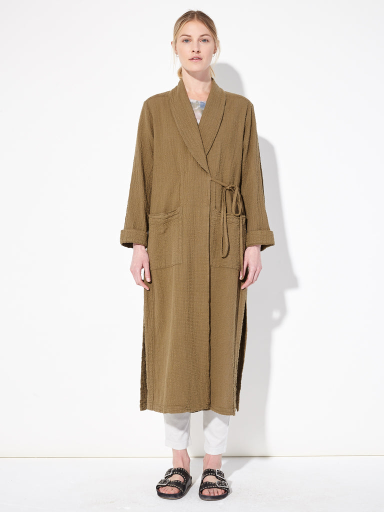 Army Textured Gauze Robe Trench