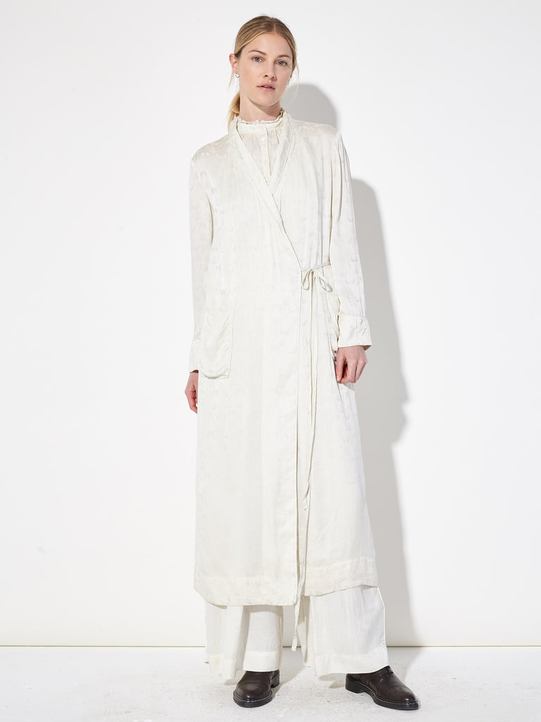 Ivory Silk Damask Robe Dress