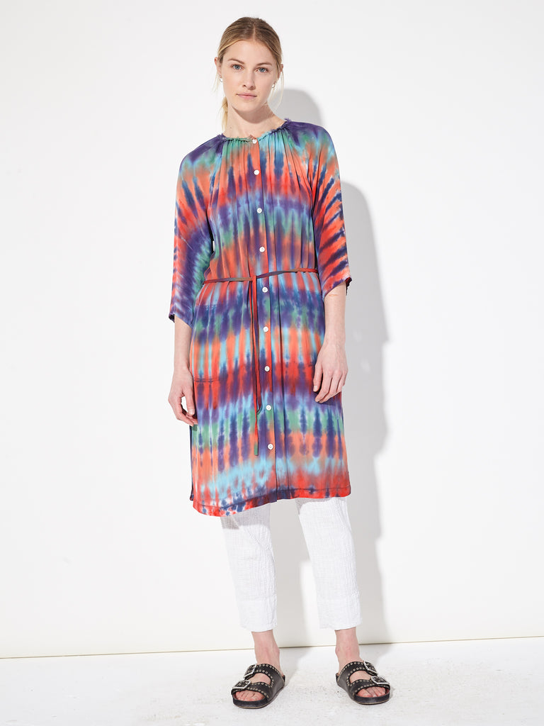 Rainbow Nation Silk Tie Dye Raglan Shirt Dress