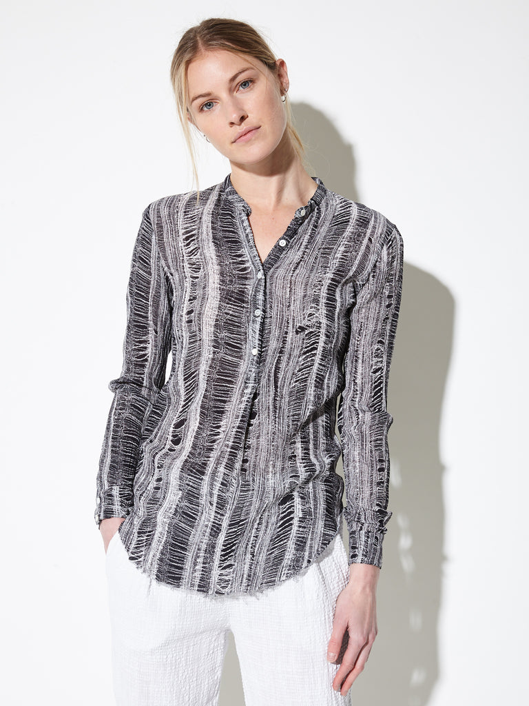 Black White Shred Print Crinkle Silk Cotton Fitted Henley