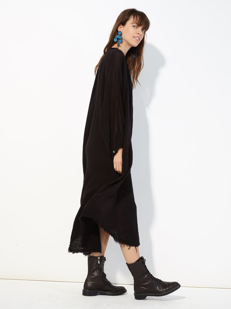 Black Gauze Poet Dress