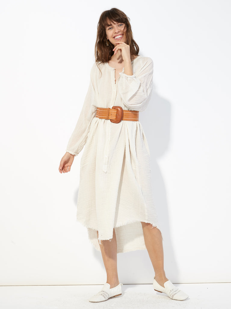 Dirty White Gauze Poet Dress