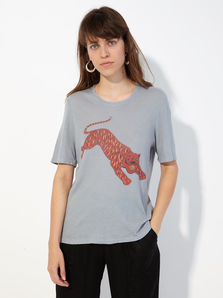 Dusty Blue Tiger Jersey Boxy Tee