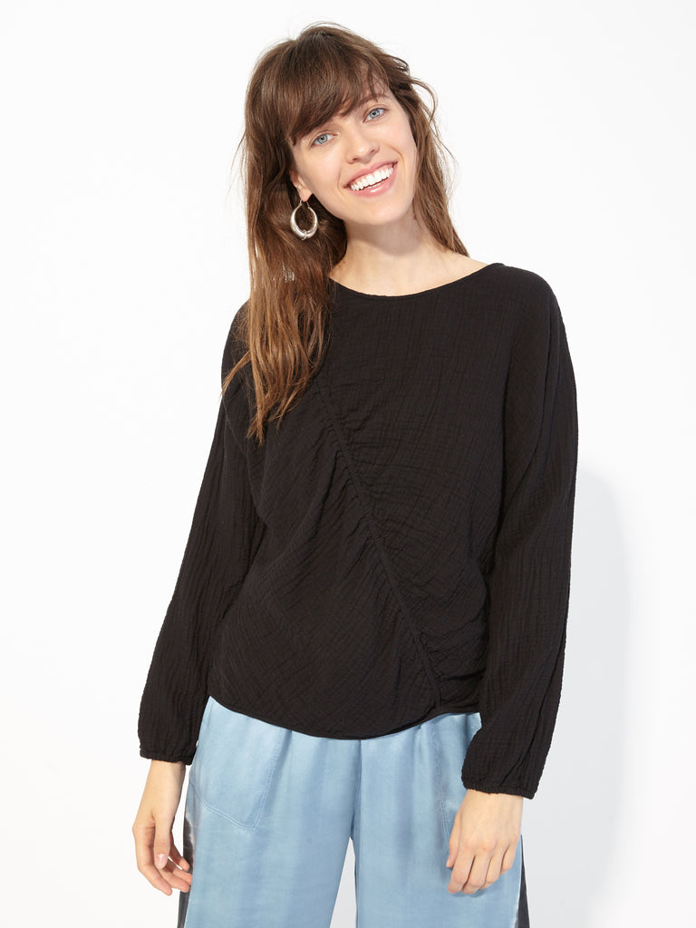 Black Gathered Gauze Cinch Sweatshirt