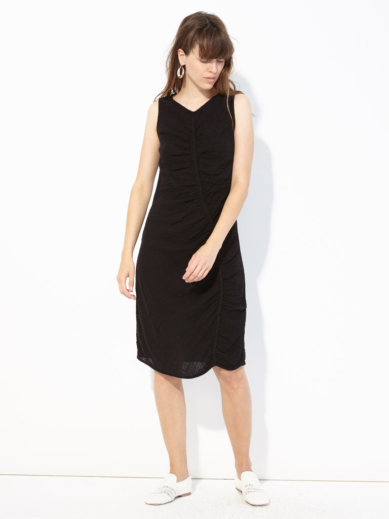 Black Gathered Gauze Column Dress