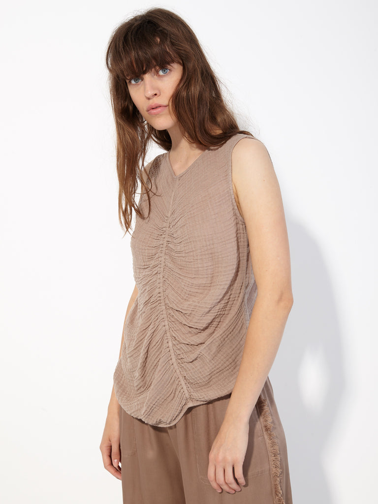 Taupe Gathered Gauze Cinch Tank