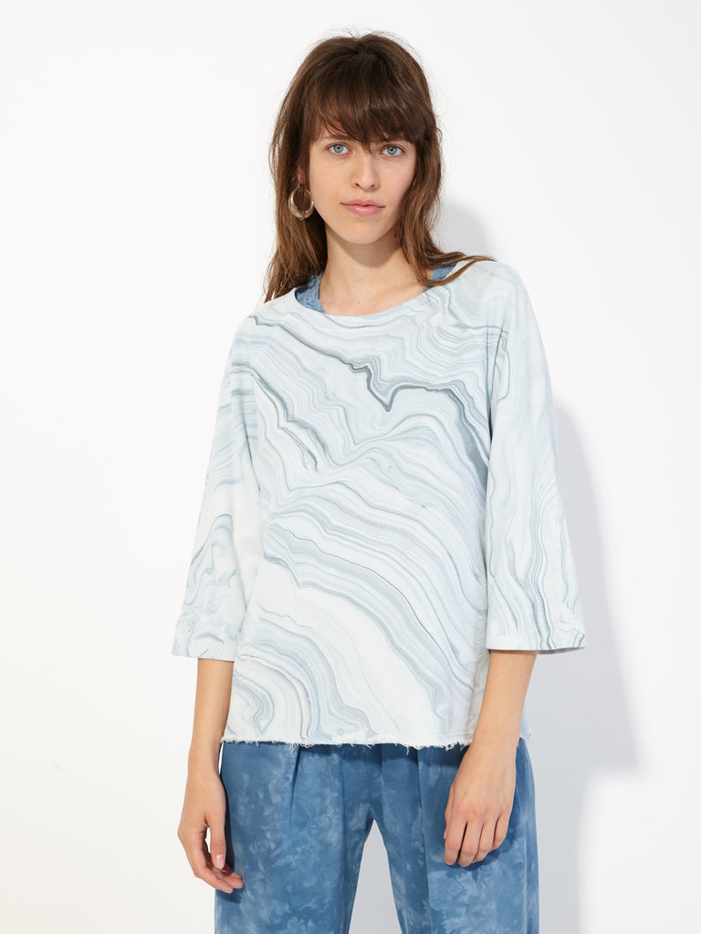 Blue Waves Marble French Terry Raglan 3/4 Sleeve