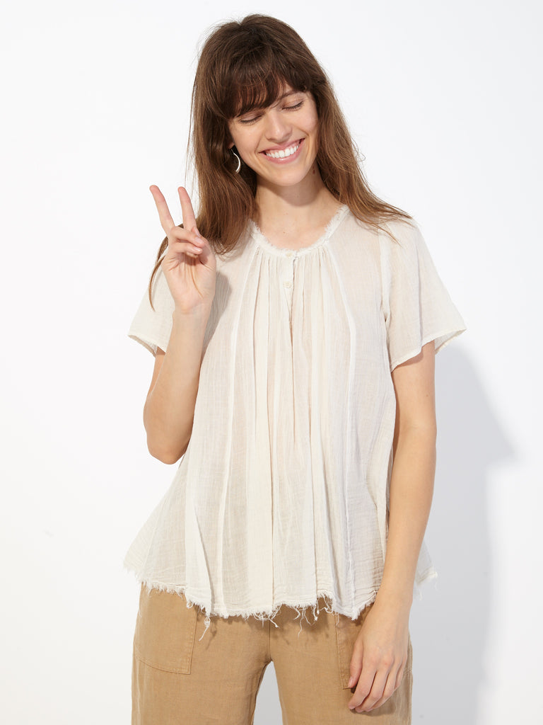 Dirty White Gauze Flutter Blouse