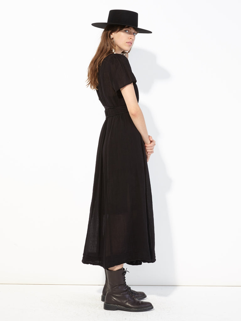 Black Gauze Flutter Maxi Dress