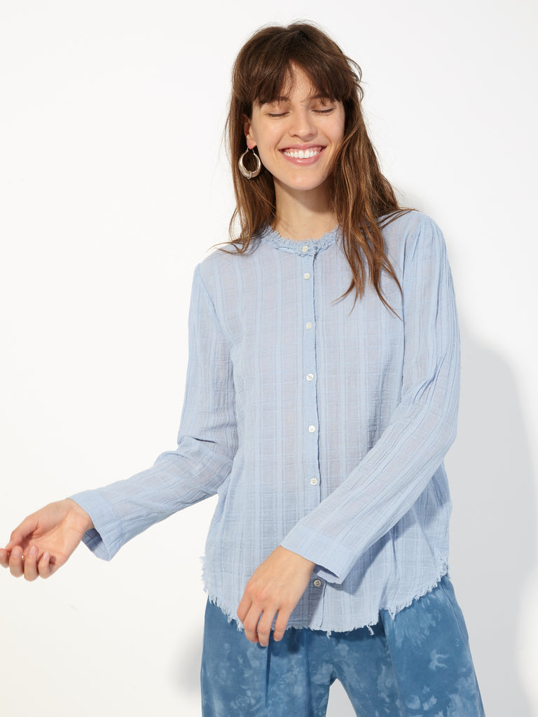 Sky Blue Plaid Gauze Button Up